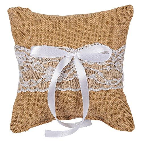 Juvale Wedding Ring Bearer Pillow - Vintage Burlap Lace Satin Ribbon Ceremony Cushion -7.25 x 7.25 x 3.25 Inches