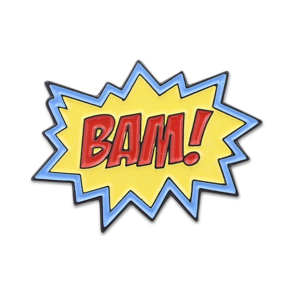 WIZARDPINS Superhero Action Sound Effect BAM POW Enamel Lapel Pin BamPowActionSFXbam1