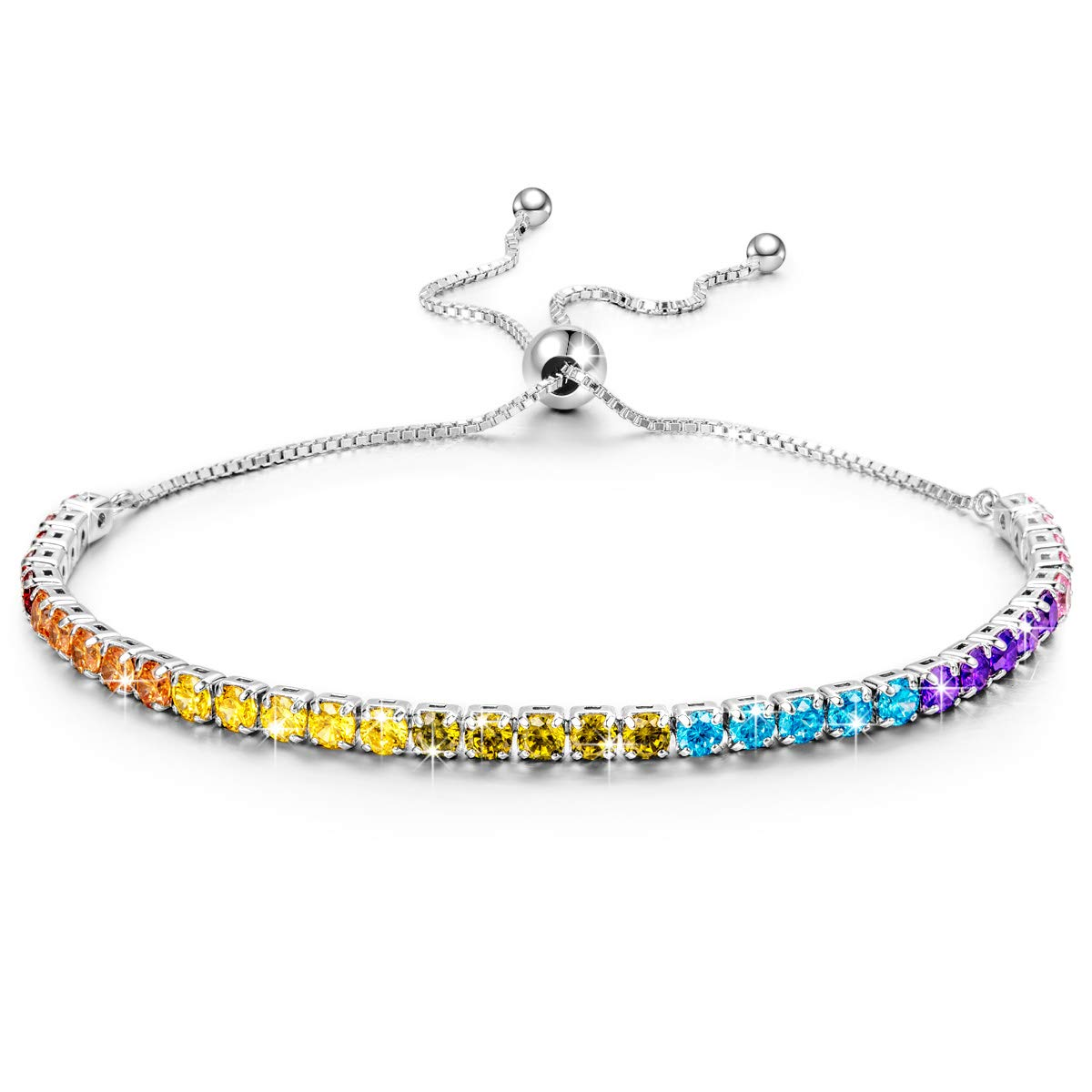 Kate Lynn Woman's Valentine Gifts 925 Sterling Silver Colorful Crystals Adjustable Tennis Bracelet Gifts for Her Ladies Gift