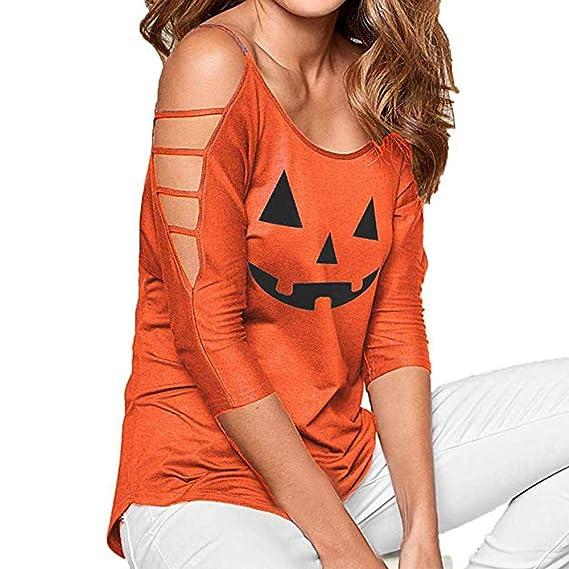 Luckycat Las Mujeres Ocasionales Sueltas Hombro Ahuecado Camiseta sólida de Halloween Blusa Tops (Naranja,
