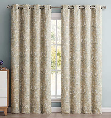 HLC.ME Paris Paisley Damask Room Darkening Thermal Blackout Curtain Panels for Living Room - Set of 2 - 63