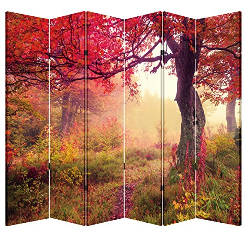 Toa 6 Panel Folding Screen Canvas Privacy Partition Divider- Red Forest