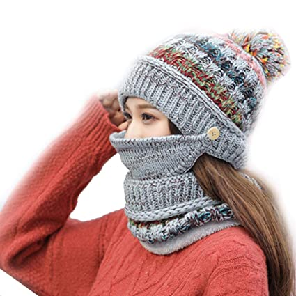 6cef36e140d sweetyhomes Fleece Lined Women Knit Beanie Scarf Set Girl Winter ski New  Lovely Casual Daily hat
