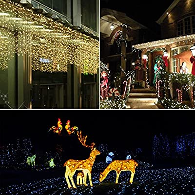 Prefer Green 2 Pack Solar Powered String Lights 100 LED 33ft 8 Modes Copper Wire Lights Indoor/Outdoor Waterproof Decorative String Lights for Patio Garden Wedding Christmas Decor (Warm White) : Garden & Outdoor