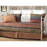 6 Piece Orange Purple Southwest Daybed Set Bedding, Geometric Stripe French Country Cottage Southwestern Striped Pattern Day Bed Bedskirt Pillows, Polyester