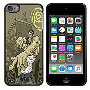 KLONGSHOP // Cubierta de piel con cierre a presión Shell trasero duro de goma Protección Caso - Calle Gangster Hip Hop - Apple iPod Touch 6 6th Touch6 //
