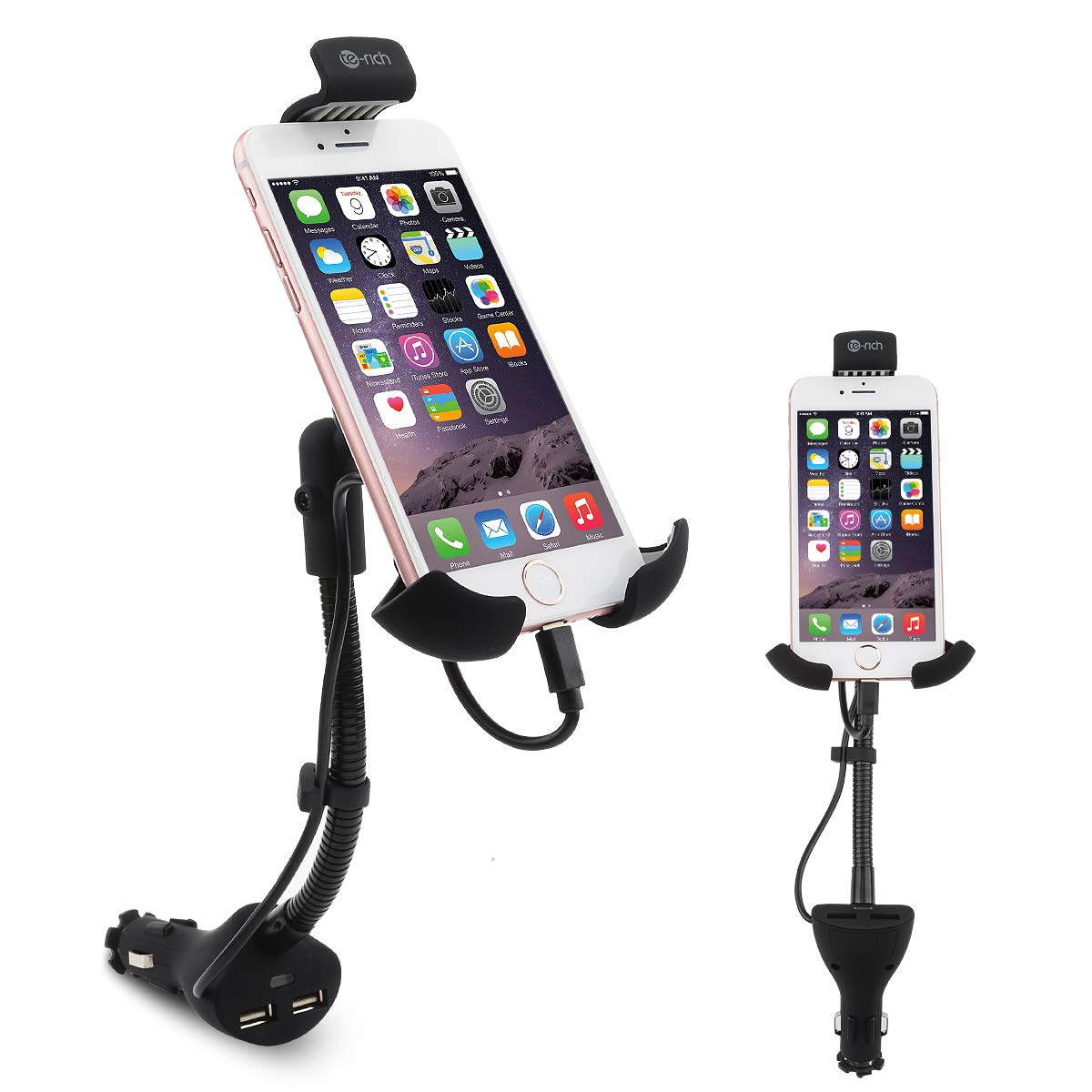 Te-Rich 2-in-1 Cigarette Lighter Smartphone Car Mount Charger Best Car Phone Holder
