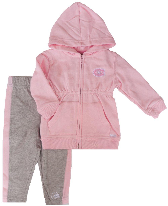 Montreal Canadiens Toddler Girls Pink Full-Zip Fleece Hooded Sweatshirt & Pants Set Mighty Mac