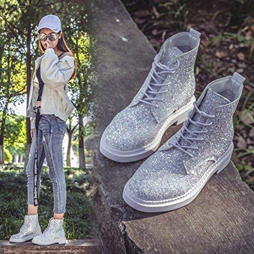 Lanhui Women Ankle Booties Shine Ladies Boots Casual Martin Shoes White Ax9whs