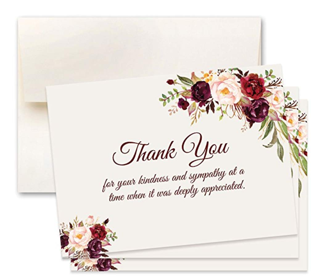 50 Sympathy Acknowledgement Cards, Includes Envelopes