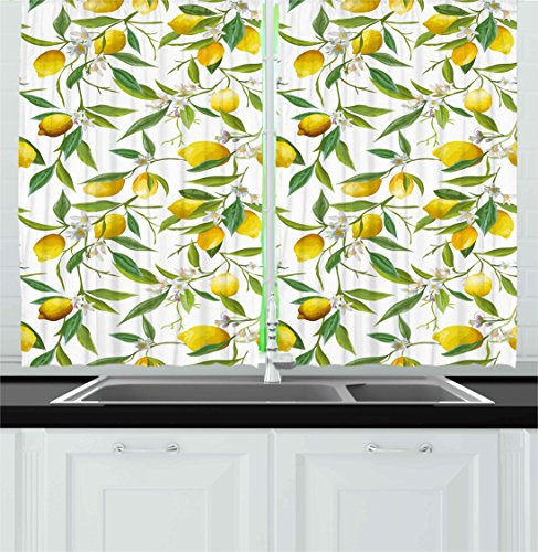 Ambesonne Nature Kitchen Curtains, Flowering Lemon Woody Plant Romance Habitat Citrus Fresh Background, Window Drapes 2 Panels Set for Kitchen Cafe, 55 W X 39 L Inches, Fern Green Yellow White