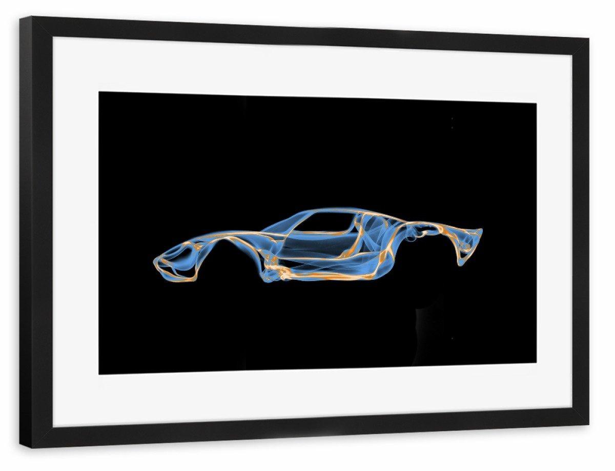 ArtboxONE Poster mit Rahmen Schwarz 60x40 cm Ford GT40 von Octavian Mielu - gerahmtes Poster