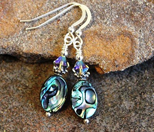 (Abalone Paua Shell Earrings Sterling Silver Dangle)