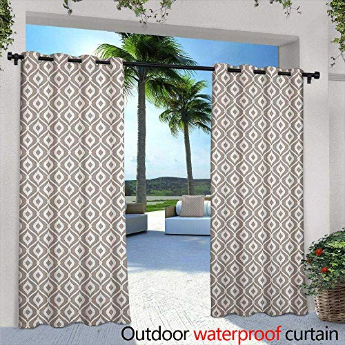 (LOVEEO Abstract Grommet Outdoor Curtains Waves Curvy Motifs Mosaic Tile Pattern Old Fashioned Design with Retro Effect Simple Stylish 96