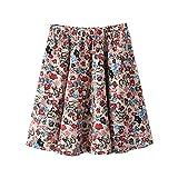 XWB Womens Mini Skirt Cotton Boho Floral Pattern Short Skirt Pleated Skirt A-Line High Waist Summer