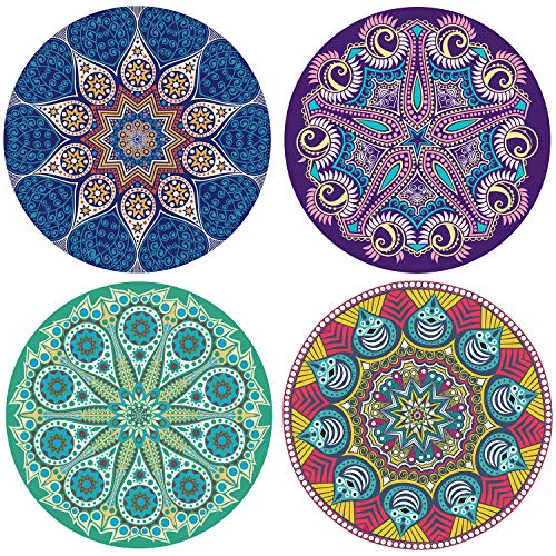 VEEYOL Coasters for Drinks, Mandala Style Absorbent Stone Coaster, Cups Holder Coffee Mug Place Mats, Set of 4