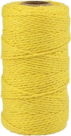 TOKERD 200m Cordel de Macramé Amarillo 3mm Cordón de Algodón Natural Mano Craft Cuerda Hilo Macramé para Manualidades Envolver Regalo Navidad Colgar Fotos Costura: Amazon.es: Hogar