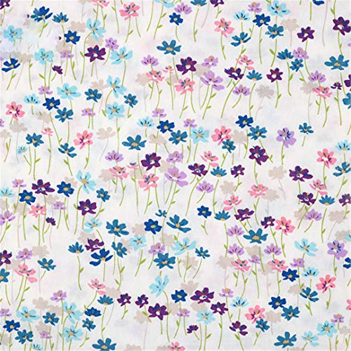 Fabric Meters Purple Flower Plaid Polka Dots Cotton Fabrics For Dresses Sewing Pillows Blanket Bed Sheet Doll Cloth Diy Meterial 1 ()