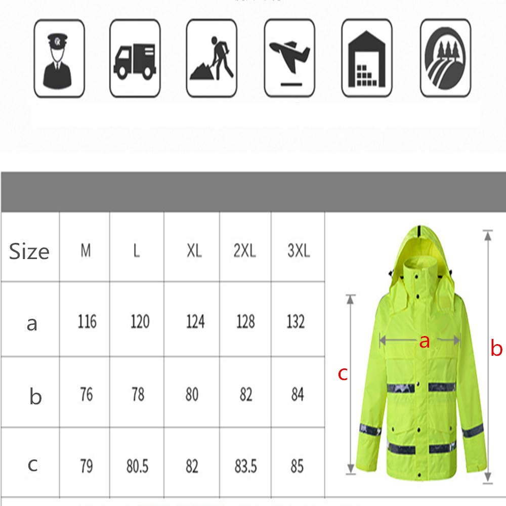 GSHWJS- trash can Waterproof Rain Jacket and Pants, Reflective Safety Raincoat Hooded Poncho Set, Green Reflective Vests (Size : XXL) by GSHWJS- trash can (Image #7)