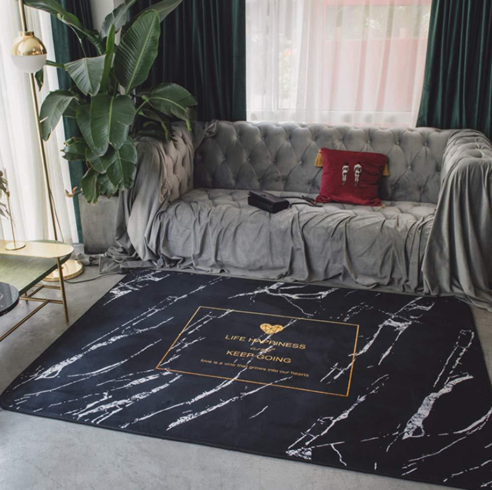 Ayhuir Tapis Doux Au Toucher De Tapis De Marbre Noir Moderne