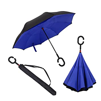 C Umbrella Inverted Reverse Folding Umbrella Windproof Double Layer Rain Umbrella Sun Umbrella For Women Outdoor
