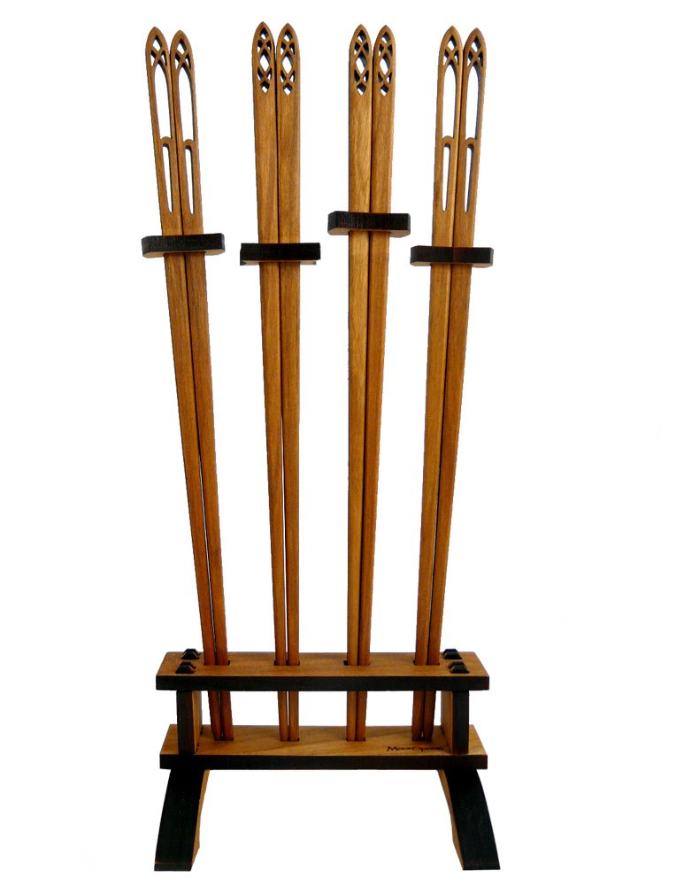 Cathedral Collection Handcrafted Chopsticks and Holder, American Made, Wild Cherry Wood, 5-Piece Set