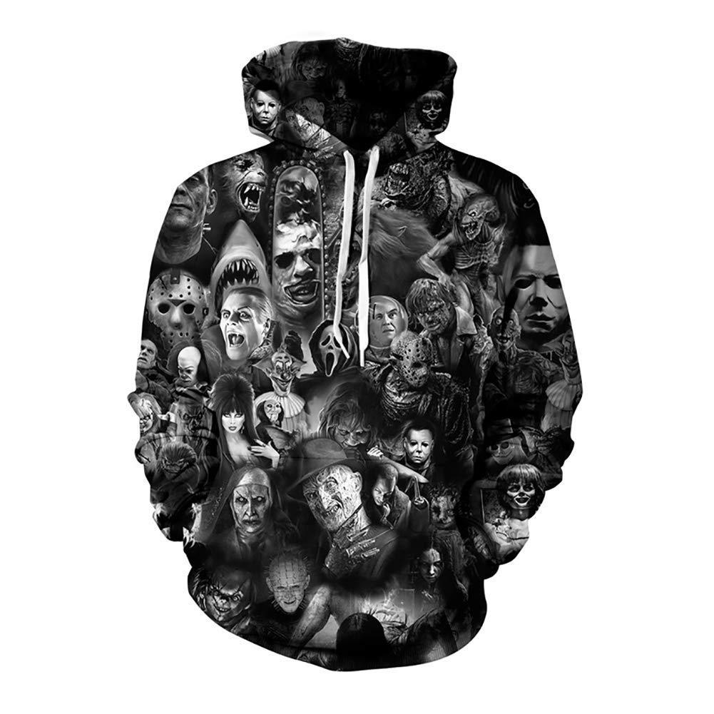FuweiEncore Männer Hoodie, Pullover Sweatshirt, Ghost Head Jumper, Ghost Head Hoodies, 3D Hoodie, 3D Lässige Trainingsanzüge (Farbe   2, Größe   4XL) (Farbe   2, Größe   XL)