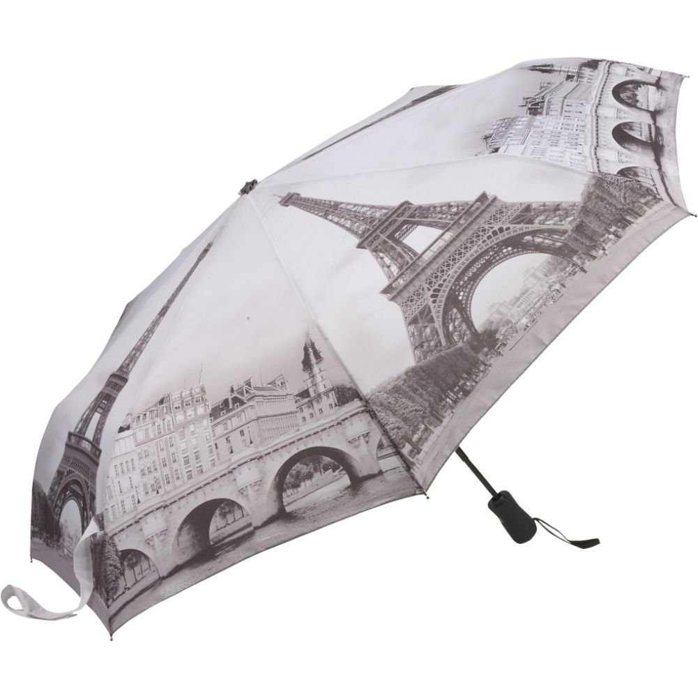 Galleria Ouverture et Fermeture Automatique Paris en Noir et Blanc Parapluie Pliant Femme