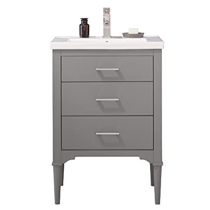 Luca Kitchen Bath LC24DGP Austin 24 Bathroom Vanity Set In French Gray Made With Hardwood And Integrated Porcelain Top