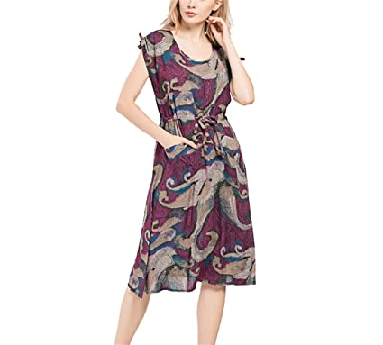 MAOUSH Fashion Print Summer Long O Neck Dress Sleeveless Women Causal Dress Beach Party Female Dresses Vestidos, XL at Amazon Womens Clothing store: