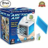 XHSP Arctic Air Personal Space Cooler 3 in 1 USB Mini Portable Air Conditioner Humidifier Purifier Desk Fan 3 Speed 4 Foot Cooling Area 7 Color LED Night Light A Ice Cube Stick Trays Office Ho