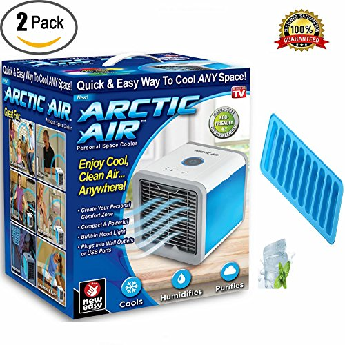 XHSP Arctic Air Personal Space Cooler 3 in 1 USB Mini Portable Air Conditioner Humidifier Purifier Desk Fan 3 Speed 4 Foot Cooling Area 7 Color LED Night Light A Ice Cube Stick Trays Office Ho by XHSP