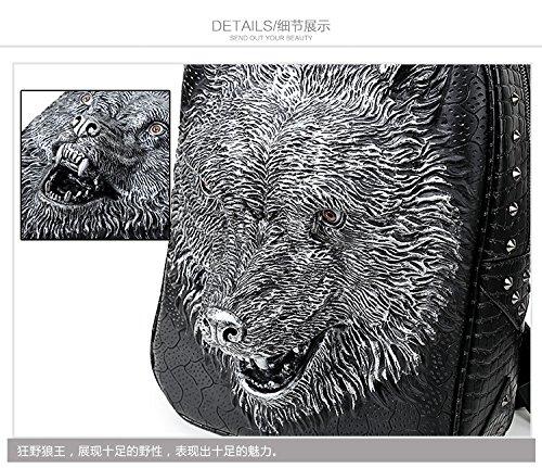 Bolsa de hombro doble 3D Tiger Head iPad mochila Negro