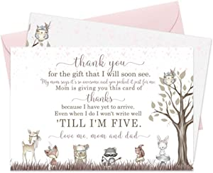 Woodland Friends Baby Shower Thank You Cards and Pink Envelopes (15 Pack)