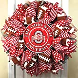 Ohio State Buckeyes Wreath for front door with deco mesh & ribbon, OSU, 26''