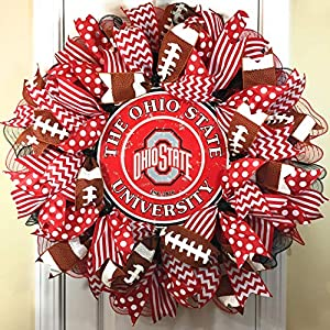 "Ohio State Buckeyes Wreath for front door with deco mesh & ribbon, OSU, 26"" 106"