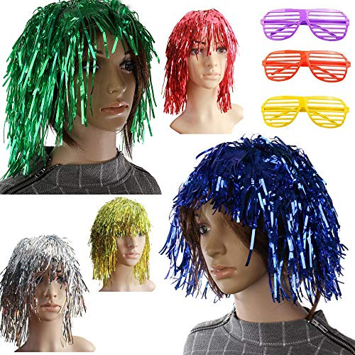 Foil Tinsel Wig and Shutter Shading Glasses for Fancy Dress Shiny Party Costume Cosplay Photo Props]()