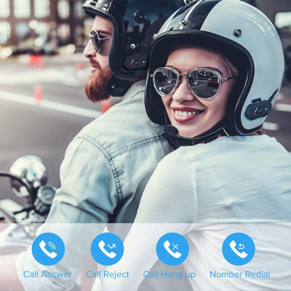 Boblov 2X V6 PRO Interfono Casco Moto 1200M Wireless Blue-Tooth Cuffie Auricolari Passeggero Impermeabile
