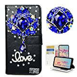 STENES iPhone 8 Case - Stylish - 3D Handmade Bling Crystal Luxury Rhinestone Flower Design Wallet Credit Card Slots Fold Stand Leather Cover for iPhone 7 / iPhone 8 - Dark Blue