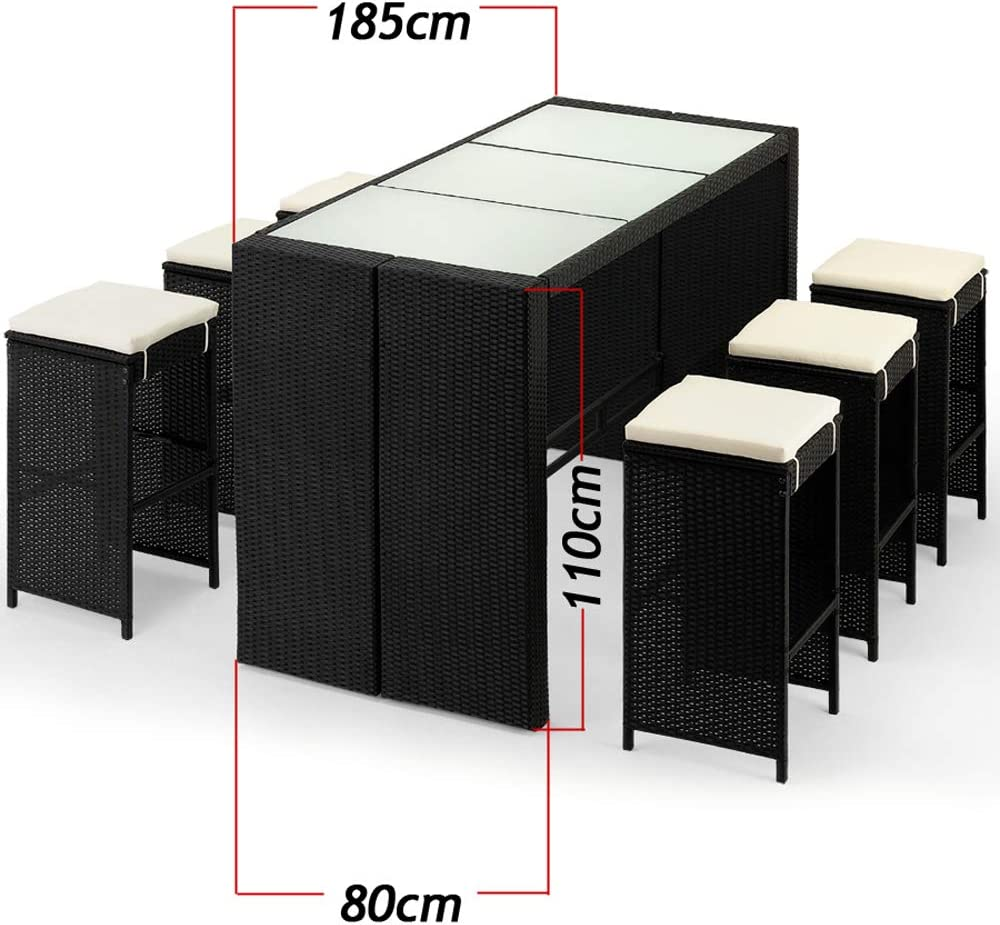 Deuba Set de muebles de bar polirat/án 6 Taburetes de bar con cojines de 7cm de grosor conjunto de muebles para jard/ín