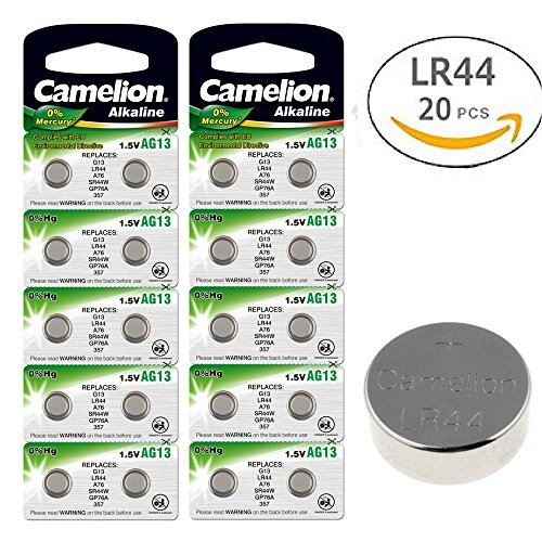 CAMELION AG13 A76 LR44 357 Button Cell Battery With Long Shelf Life 0% Mercury (Expire Date Marked) (AG13 x 20) -