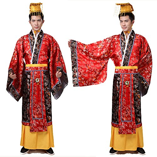Han dynasty costume/The King Qinshihuang's Dress/Ancient Chinese Cosplay/Chinese Emperors Clothing/King's dress/Campus Party dress/Spring Festival cultural costume/Traditional clothes-Red Dress