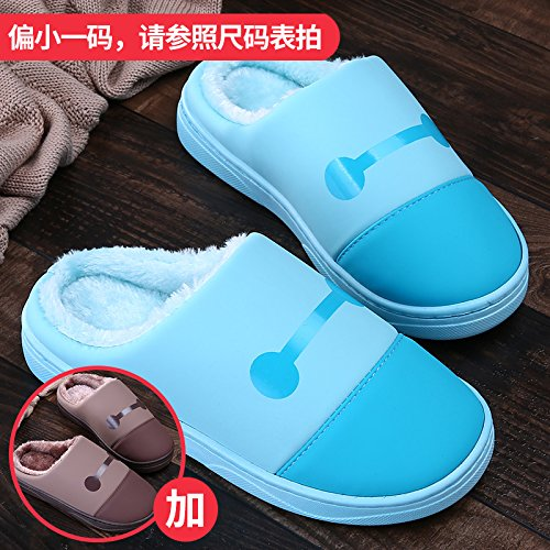 LaxBa Femmes Hommes chauds dhiver Chaussons peluche antiglisse intérieur Cotton-Padded Bleu Chaussures Slipper  + brun40/41  + 44/45