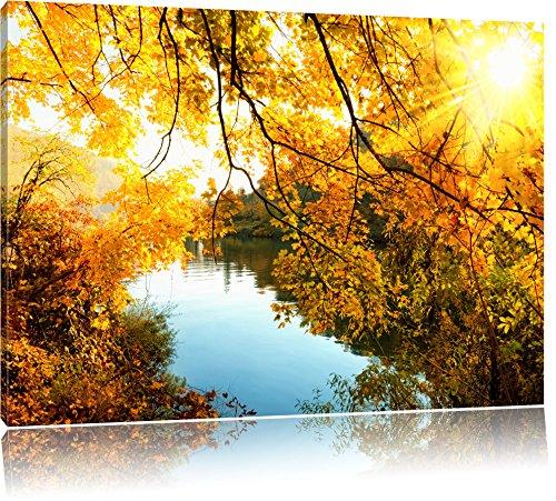 Landschaft mit See und Bäumen, Bild auf Leinwand, XXL riesige Bilder fertig gerahmt mit Keilrahmen, Kunstdruck auf Wandbild mit Rahmen, günstiger als Gemälde oder Ölbild, kein Poster oder Plakat, Format:80x60 cm