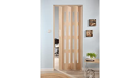 Forte Luciana Plastic Folding Door Ash with 4 Windows Ripple Texture ...