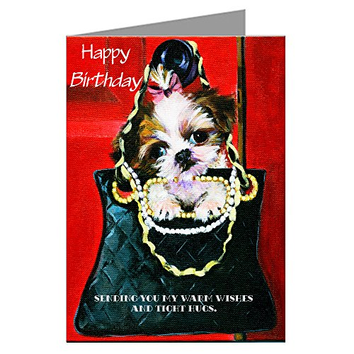 Shihtzu Single Greeting Card of Vintage Shih-tzu in a Haute Couture Hand Bag Painting Original Artwork By Philo Happy Birthday Card Shitzu