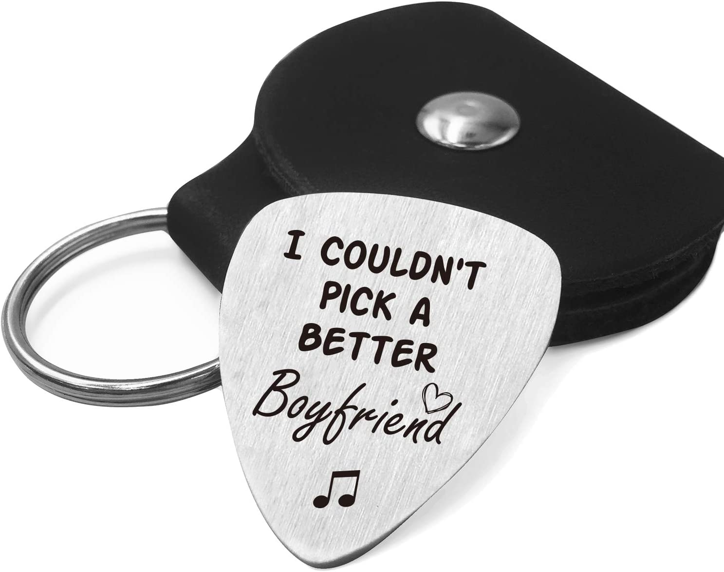 Best Boyfriend Guitar Pick Gifts for Him Men - Love Quotes Stainless Steel  Guitar Pick with Guitar Pick Holder Case - Musician Gift Ideas for ...