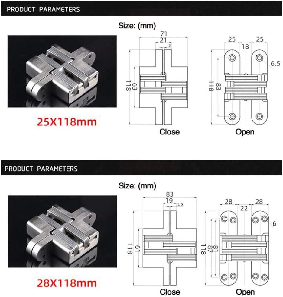 Size : 25X118mm 304 Stainless Steel Hidden Hinge 7 Specification Hidden Form Mounting Folding Door Hinge door Furniture Hardware Cabinet hinge satin nickel