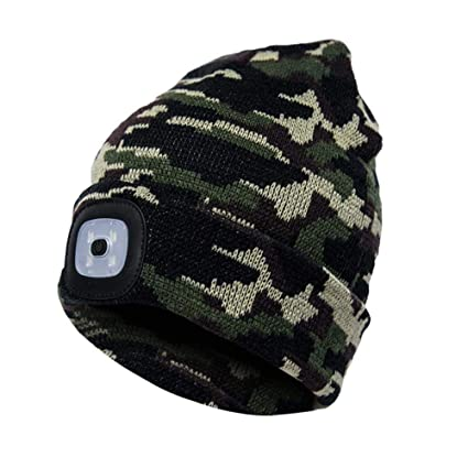 LED Lighted Beanie Cap Unisex Rechargeable Flashlight Hands Free Headlamp  Multi-Color LED Knit Hat for Hunting 62bdaffadb03