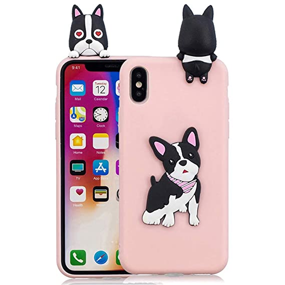 Amazon.com: Cute 3D Peeking French Bulldog Dog Friend Pink ...